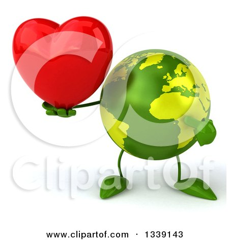 Clipart of a 3d Green Earth Character Holding and Pointing to a Red Love Heart - Royalty Free Illustration by Julos