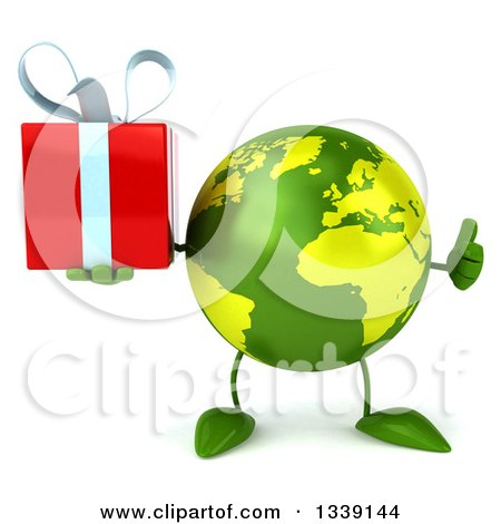 Clipart of a 3d Green Earth Character Giving a Thumb up and Holding a Gift - Royalty Free Illustration by Julos