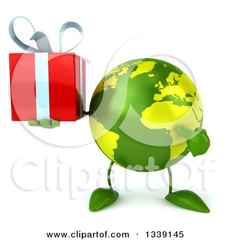 Clipart of a 3d Green Earth Character Holding and Pointing to a Gift - Royalty Free Illustration by Julos