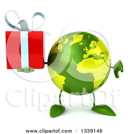 Clipart of a 3d Green Earth Character Giving a Thumb down and Holding a Gift - Royalty Free Illustration by Julos