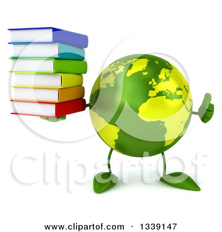 Clipart of a 3d Green Earth Character Giving a Thumb up and Holding a Stack of Books - Royalty Free Illustration by Julos