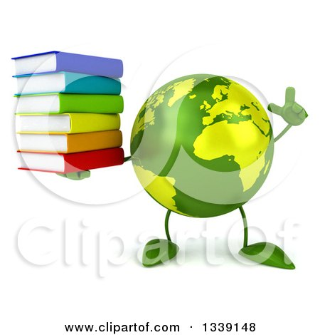 Clipart of a 3d Green Earth Character Holding up a Finger and a Stack of Books - Royalty Free Illustration by Julos