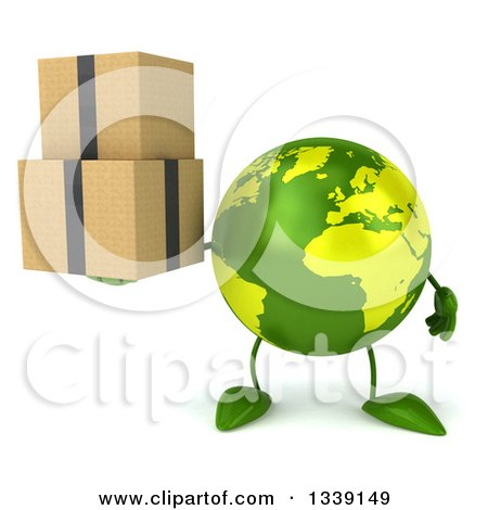 Clipart of a 3d Green Earth Character Holding Boxes - Royalty Free Illustration by Julos