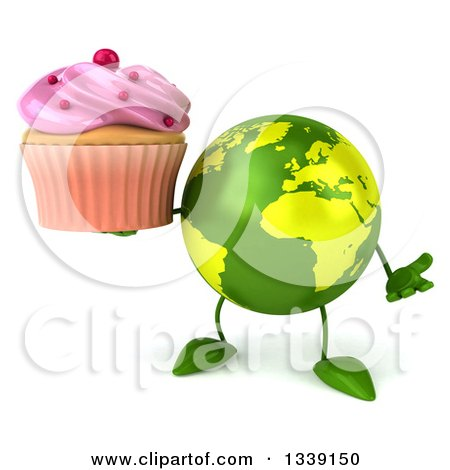 Clipart of a 3d Green Earth Character Shrugging Holding a Pink Frosted Cupcake - Royalty Free Illustration by Julos