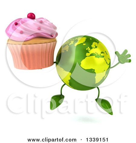Clipart of a 3d Green Earth Character Jumping and Holding a Pink Frosted Cupcake - Royalty Free Illustration by Julos