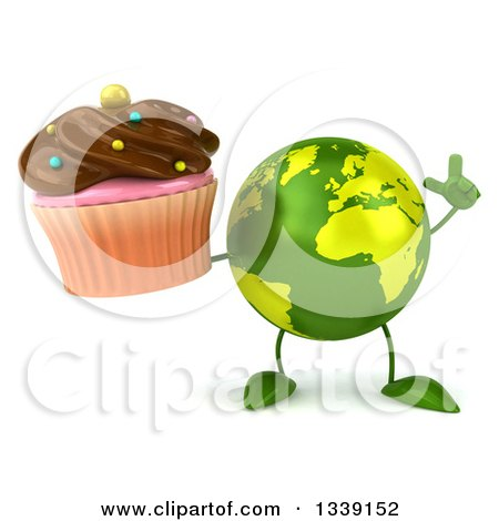 Clipart of a 3d Green Earth Character Holding up a Finger and a Chocolate Frosted Cupcake - Royalty Free Illustration by Julos