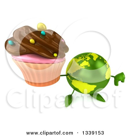 Clipart of a 3d Green Earth Character Holding up a Thumb down and a Chocolate Frosted Cupcake - Royalty Free Illustration by Julos