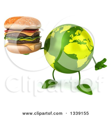 Clipart of a 3d Green Earth Character Shrugging and Holding a Double Cheeseburger - Royalty Free Illustration by Julos