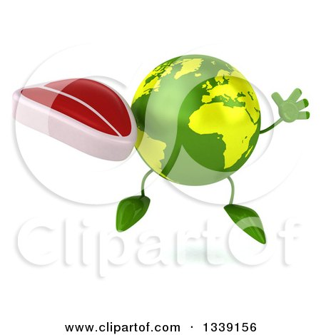 Clipart of a 3d Green Earth Character Jumping and Holding a Beef Steak - Royalty Free Illustration by Julos