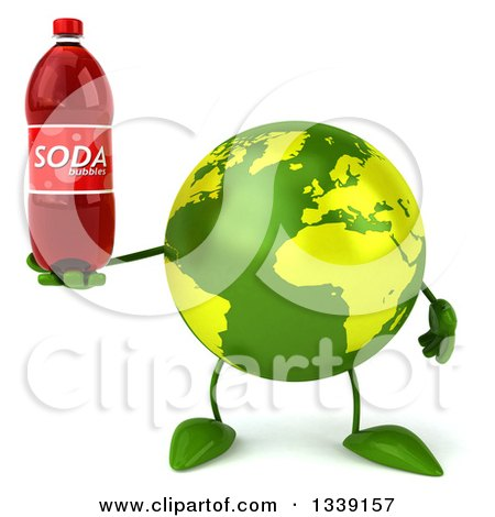 Clipart of a 3d Green Earth Character Holding a Soda Bottle - Royalty Free Illustration by Julos
