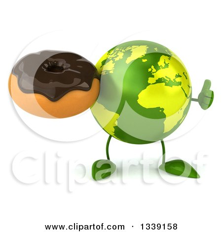 Clipart of a 3d Green Earth Character Giving a Thumb up and Holding a Chocolate Glazed Donut - Royalty Free Illustration by Julos