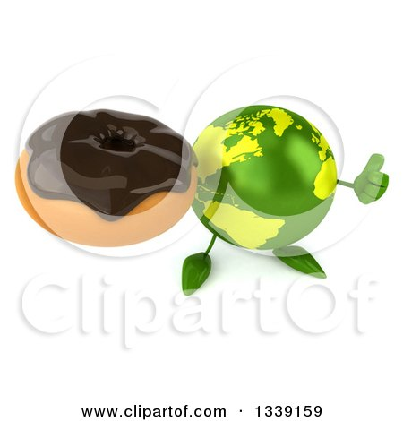 Clipart of a 3d Green Earth Character Holding up a Thumb and a Chocolate Glazed Donut - Royalty Free Illustration by Julos