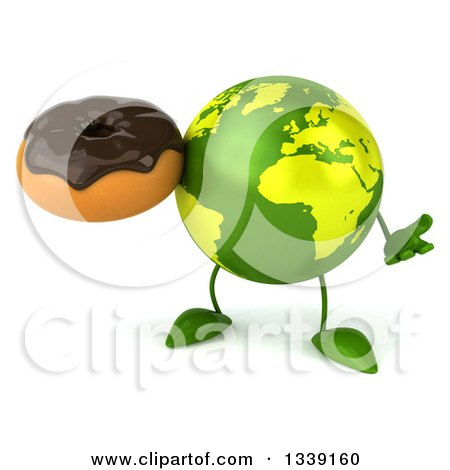 Clipart of a 3d Green Earth Character Shrugging and Holding a Chocolate Glazed Donut - Royalty Free Illustration by Julos