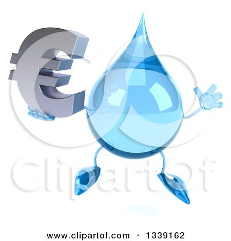 Clipart of a 3d Water Drop Character Jumping and Holding a Euro Currency Symbol - Royalty Free Illustration by Julos