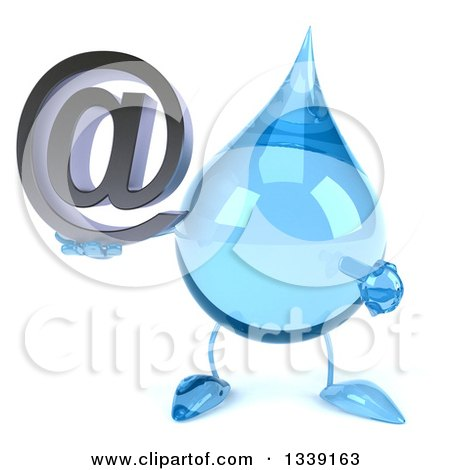 Clipart of a 3d Water Drop Character Holding and Pointing to an Email Arobase at Symbol - Royalty Free Illustration by Julos