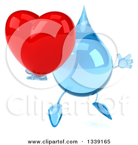 Clipart of a 3d Water Drop Character Facing Slightly Right, Jumping and Holding a Red Love Heart - Royalty Free Illustration by Julos