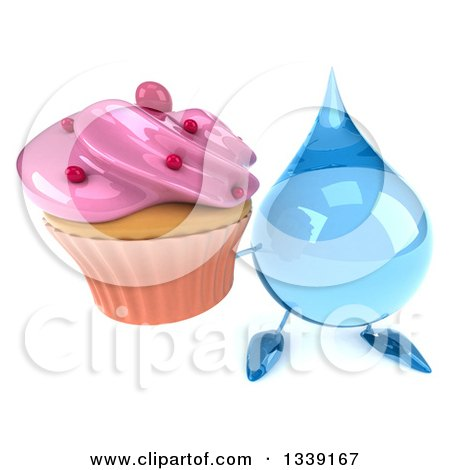 Clipart of a 3d Water Drop Character Holding up a Pink Frosted Cupcake - Royalty Free Illustration by Julos