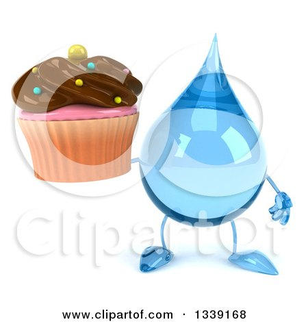 Clipart of a 3d Water Drop Character Holding a Chocolate Frosted Cupcake - Royalty Free Illustration by Julos