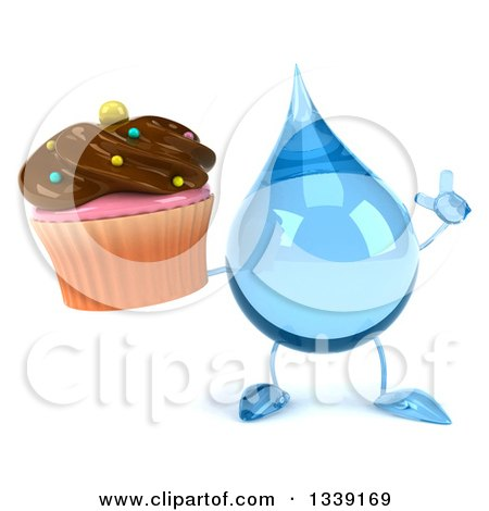 Clipart of a 3d Water Drop Character Holding up a Finger and a Chocolate Frosted Cupcake - Royalty Free Illustration by Julos