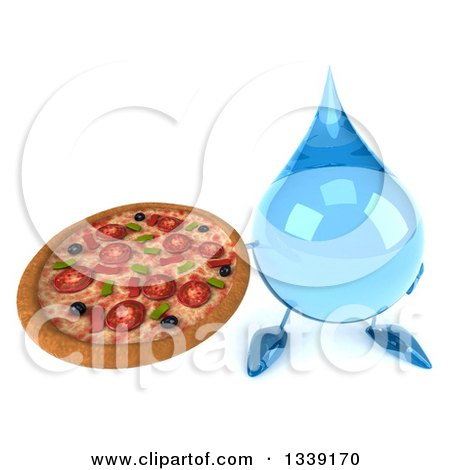 Clipart of a 3d Water Drop Character Holding up a Pizza - Royalty Free Illustration by Julos