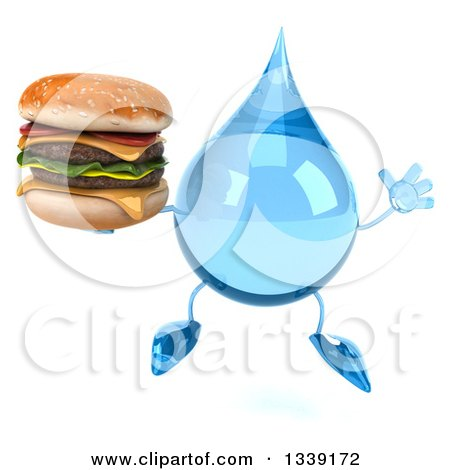 Clipart of a 3d Water Drop Character Jumping and Holding a Double Cheeseburger - Royalty Free Illustration by Julos