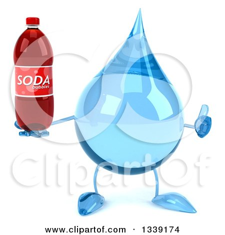 Clipart of a 3d Water Drop Character Giving a Thumb up and Holding a Soda Bottle - Royalty Free Illustration by Julos