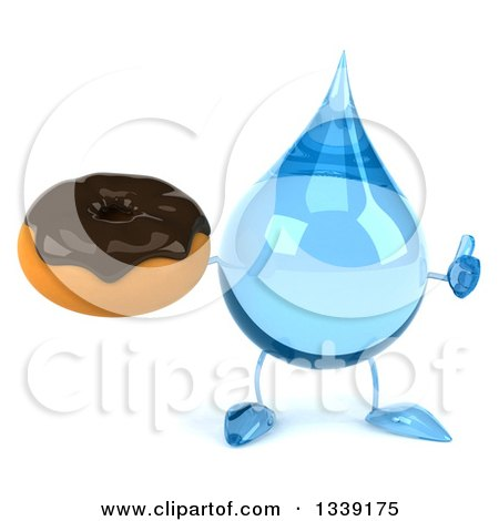Clipart of a 3d Water Drop Character Giving a Thumb up and Holding a Chocolate Glazed Donut - Royalty Free Illustration by Julos