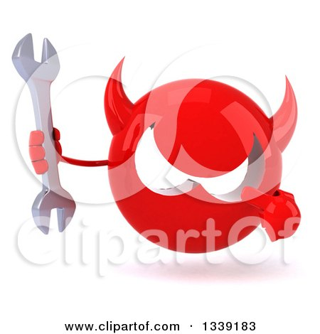 Clipart of a 3d Red Devil Head Holding and Pointing to a Wrench - Royalty Free Illustration by Julos
