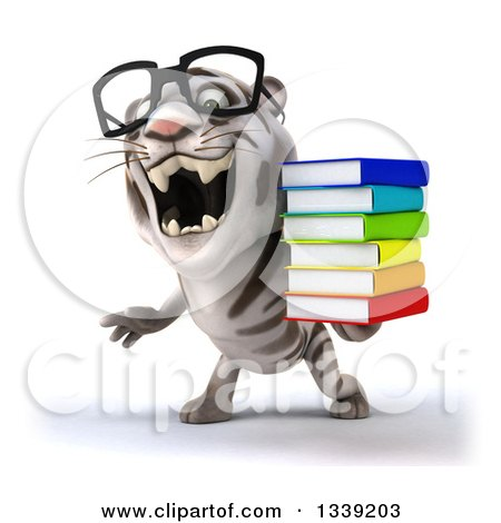 Clipart of a 3d Bespectacled White Tiger Roaring and Holding a Stack of Books - Royalty Free Illustration by Julos