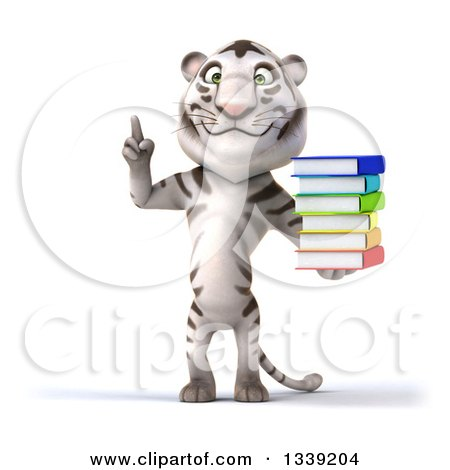 Clipart of a 3d White Tiger Holding up a Finger and a Stack of Books - Royalty Free Illustration by Julos