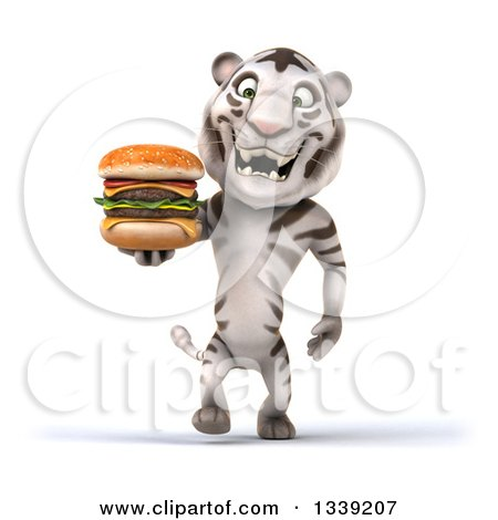 Clipart of a 3d White Tiger Walking and Holding a Double Cheeseburger - Royalty Free Illustration by Julos