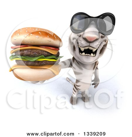 Clipart of a 3d White Tiger Wearing Sunglasess and Holding up a Double Cheeseburger - Royalty Free Illustration by Julos
