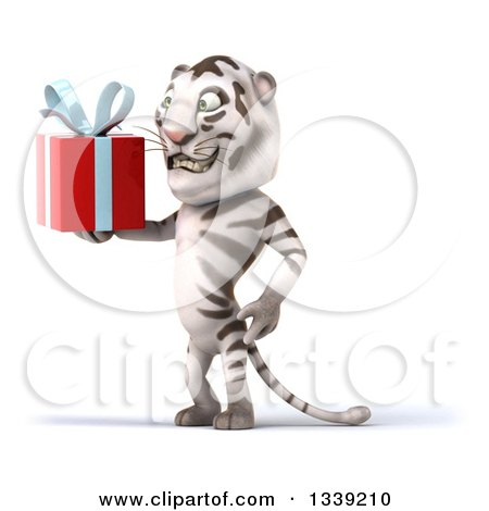 Clipart of a 3d White Tiger Facing Left and Holding a Gift - Royalty Free Illustration by Julos