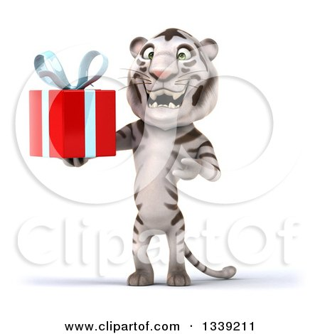 Clipart of a 3d White Tiger Holding and Presenting a Gift - Royalty Free Illustration by Julos