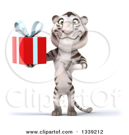 Clipart of a 3d White Tiger Holding and Pointing to a Gift - Royalty Free Illustration by Julos
