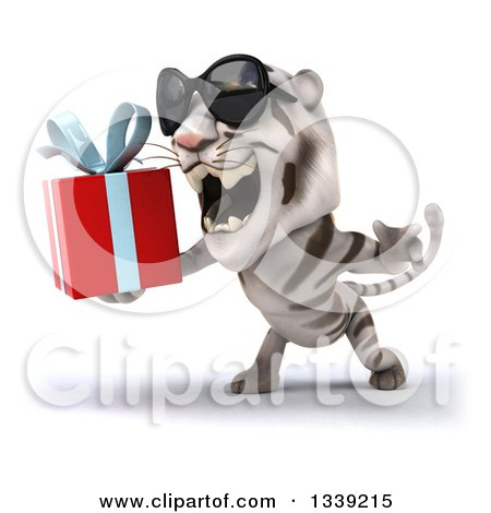 Clipart of a 3d White Tiger Wearing Sunglasses, Facing Slightly Left, Roaring and Holding a Gift - Royalty Free Illustration by Julos
