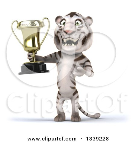 Clipart of a 3d White Tiger Holding and Presenting a Trophy - Royalty Free Illustration by Julos