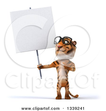 Clipart of a 3d Bespectacled Tiger Holding and Pointing to a Blank Sign - Royalty Free Illustration by Julos