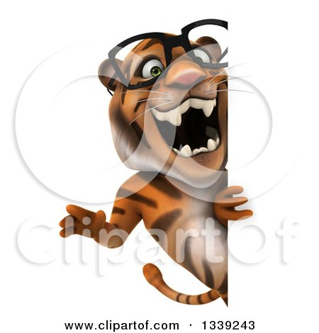 Clipart of a 3d Bespectacled Tiger Roaring Around a Sign - Royalty Free Illustration by Julos