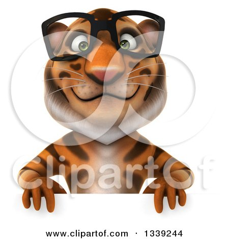 Clipart of a 3d Bespectacled Tiger over a Sign - Royalty Free Illustration by Julos