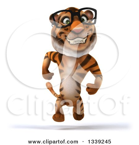 Clipart of a 3d Bespectacled Tiger Sprinting - Royalty Free Illustration by Julos