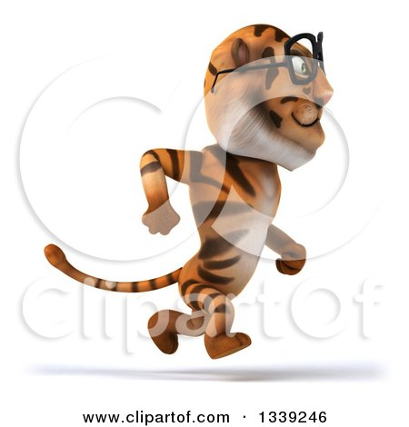 Clipart of a 3d Bespectacled Tiger Sprinting to the Right - Royalty Free Illustration by Julos
