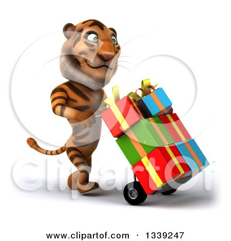 Clipart of a 3d Tiger Walking to the Right and Moving Gifts on a Dolly - Royalty Free Illustration by Julos