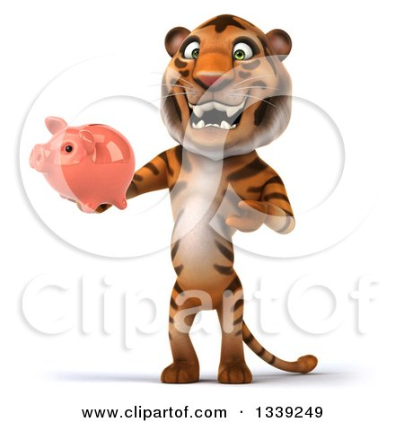 Clipart of a 3d Tiger Holding and Presenting a Piggy Bank - Royalty Free Illustration by Julos