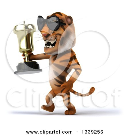 Clipart of a 3d Tiger Wearing Sunglasses, Walking to the Left and Holding a Trophy - Royalty Free Illustration by Julos