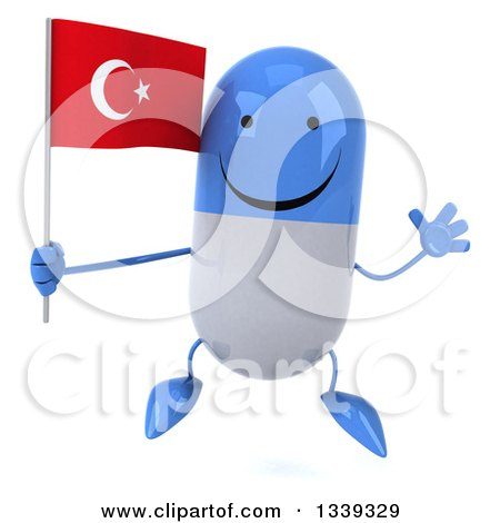Clipart of a 3d Happy Blue and White Pill Character Holding a Turkish Flag and Jumping - Royalty Free Illustration by Julos