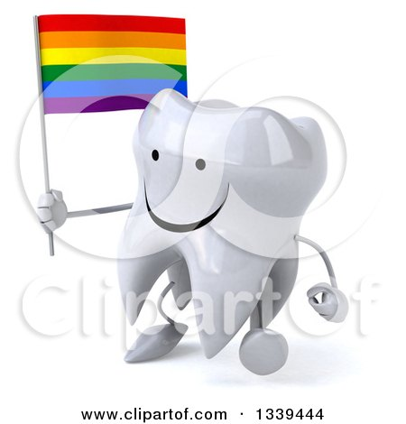 Clipart of a 3d Happy Tooth Character Holding a Rainbow Flag and Walking Slightly Left - Royalty Free Illustration by Julos