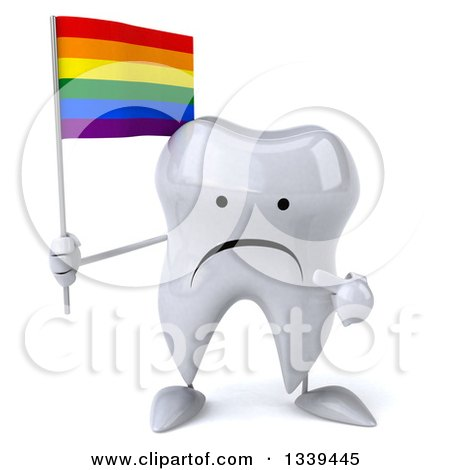 Clipart of a 3d Unhappy Tooth Character Holding and Pointing to a Rainbow Flag - Royalty Free Illustration by Julos