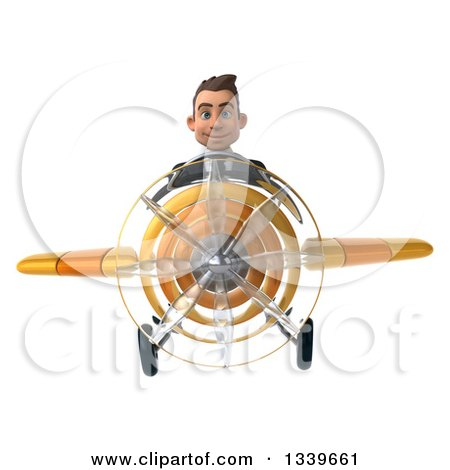 Clipart of a 3d Young White Businessman Pilot Flying a Yellow Airplane - Royalty Free Illustration by Julos