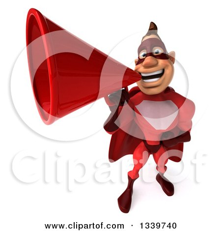 Clipart of a 3d Caucasian Red Super Hero Man Announcing Upwards with a Megaphone - Royalty Free Illustration by Julos